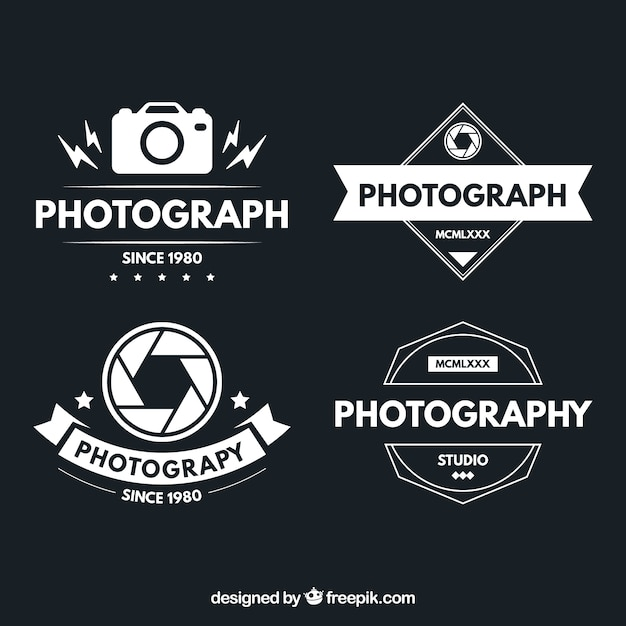 Logotypes of photography in vintage design Free Vector