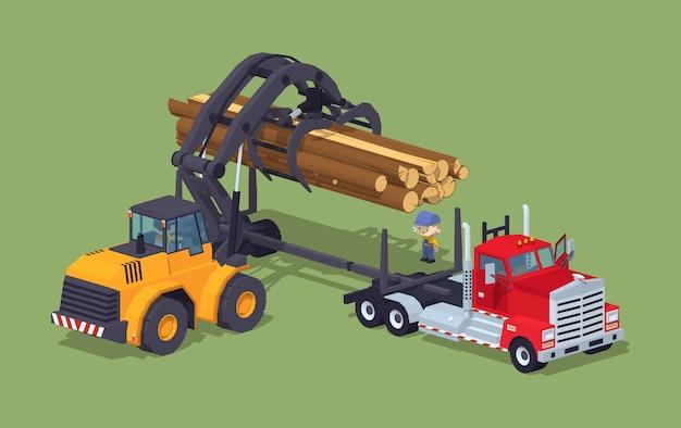 Logs loading on truck Premium Vector