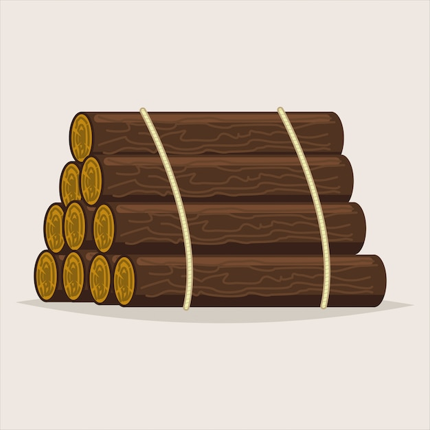 Logs tree. timber vector cartoon illustration isolated Premium Vector