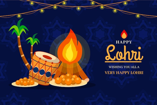 Lohri bonfire and palm trees illustration Premium Vector