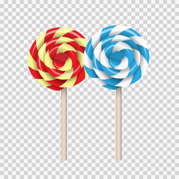 Lollipop swirl, colored sugar candies set Premium Vector
