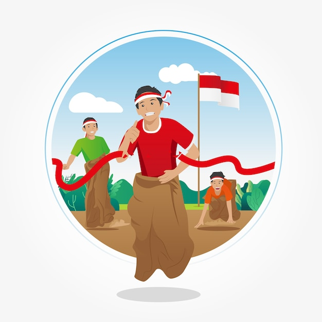 Lomba balap karung. sack race competition on 17th august - indonesian independence day Premium Vector