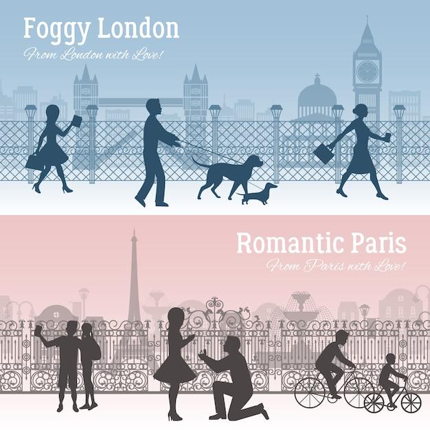 Набор баннеров лондон и париж Бесплатные векторы