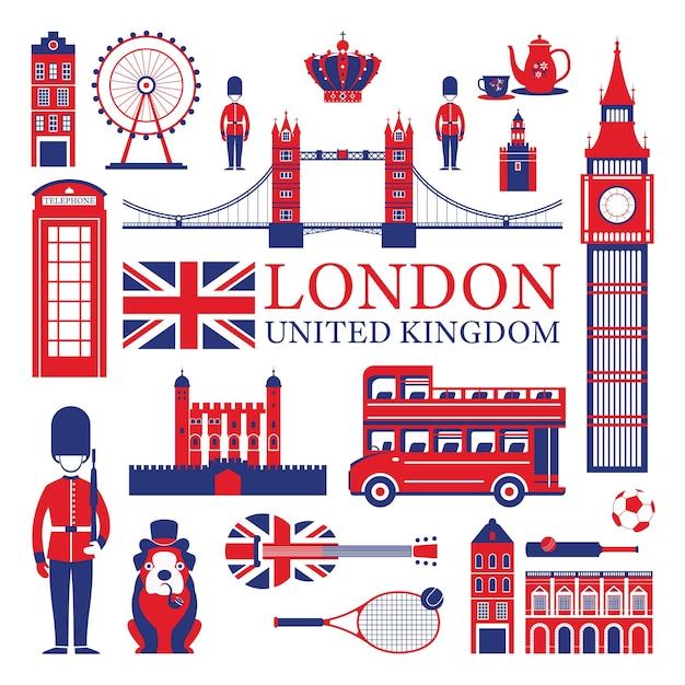 Развлечения в лондоне и великобритании Premium векторы