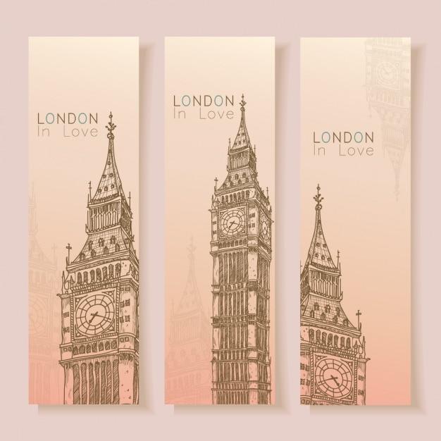 Лондон коллекция баннеров Бесплатные векторы