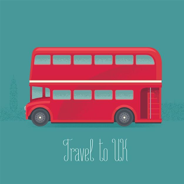 런던, 영국 이층 빨간 버스 벡터 일러스트 레이 션 프리미엄 벡터