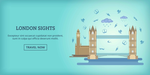 London buildings banner horizontal, cartoon style Premium Vector
