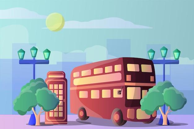 観光オブジェクトのためのロンドンのバスと電話ボックスのイラストの風景 Premiumベクター