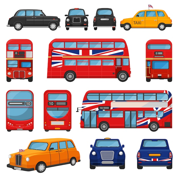 London car vector british cab taxi and uk red bus for transporting in england illustration set of tourism transportation in united kingdom by vehicle or english automobile isolated Premium Vector