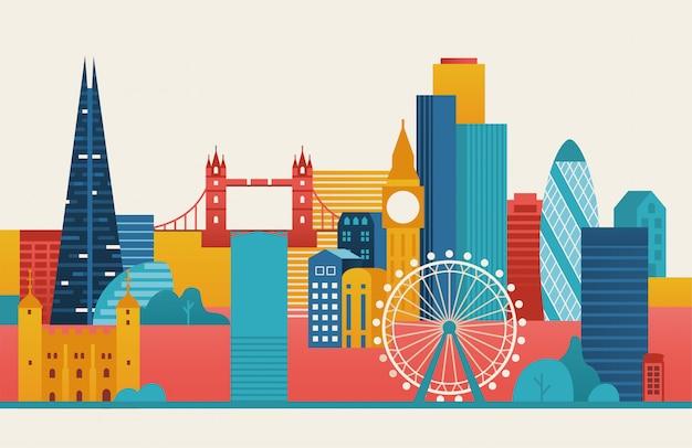 Лондонский городской иллюстрации. лондонский горизонт. Premium векторы
