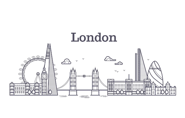 London city skyline with famous buildings, tourism england landmarks outline vector illustration Premium Vector