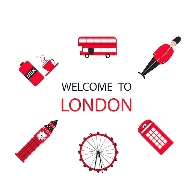 London city travel holiday background Premium Vector