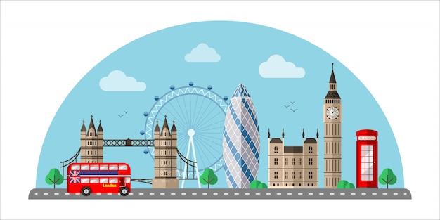Лондонский городской пейзаж плоская цветная иллюстрация Premium векторы