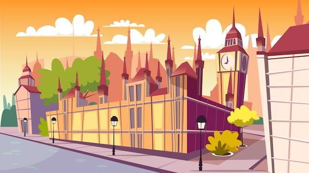 London cityscape illustration. cartoon london famous landmarks at day, big ben Free Vector