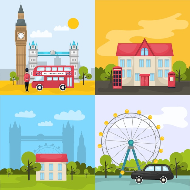 London colored compositions with four square icon set about tourist places and attractions Free Vector
