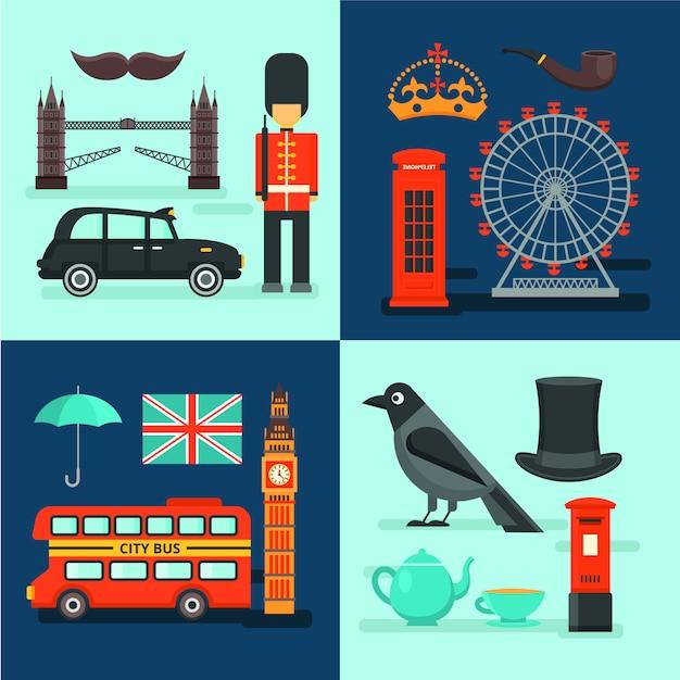 Цветные лондонские композиции Бесплатные векторы