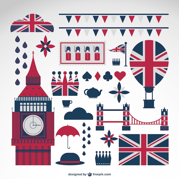 London elements with britain flags collection Free Vector