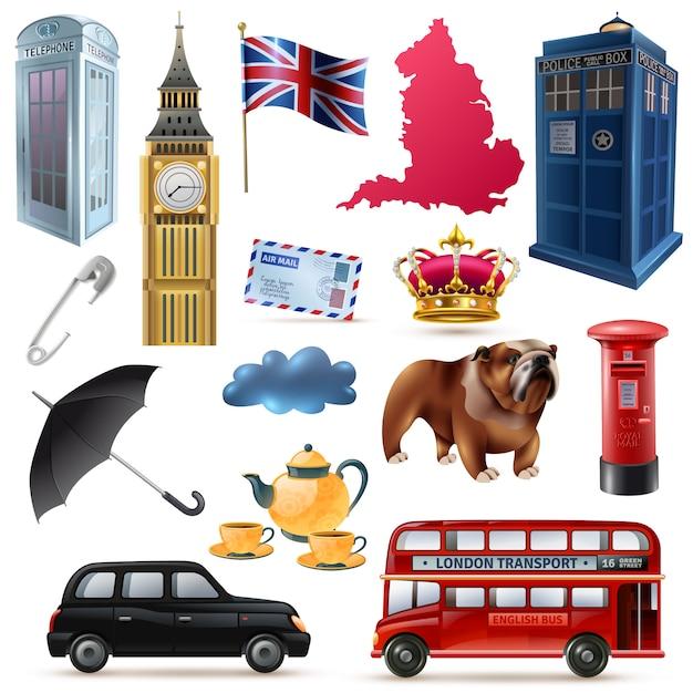 London england icons set Free Vector