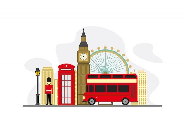Фон знаменитых достопримечательностей лондона Premium векторы