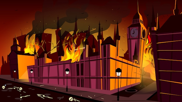 London in fire of plague epidemic illustration. london city burning at plague disease Free Vector