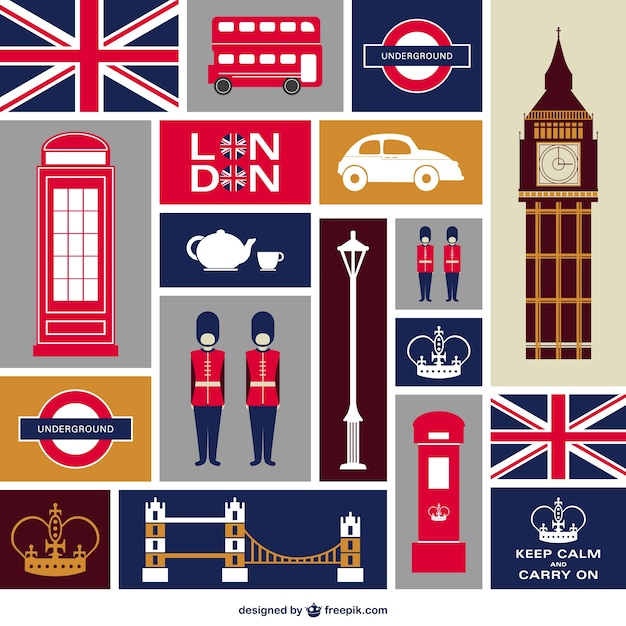 London flat icons set Free Vector
