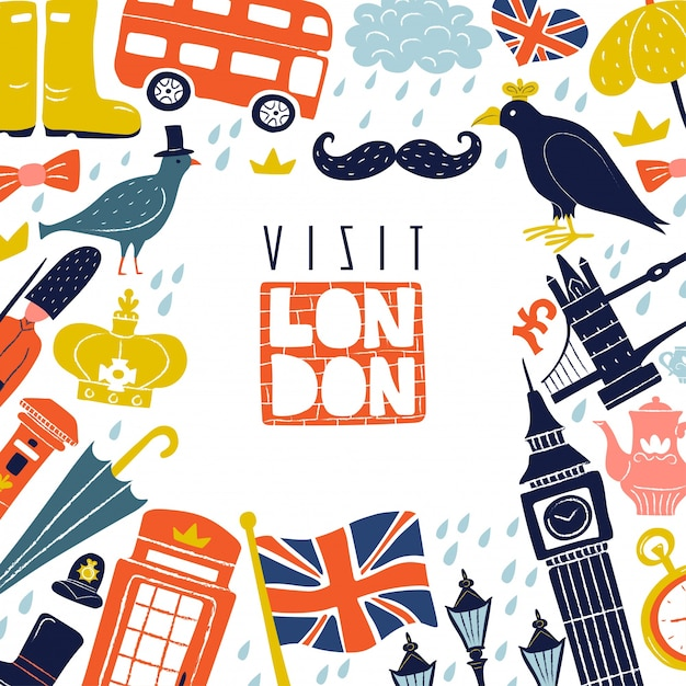 London frame background Free Vector