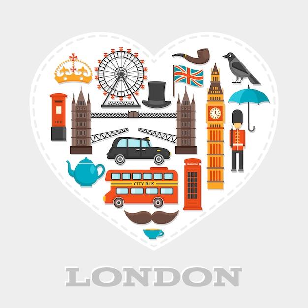 런던 심장 구성 또는 아이콘이 큰 하얀 마음에 결합 된 런던 테마 설정 포스터 무료 벡터