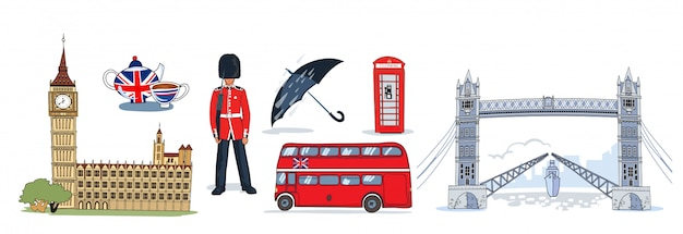 Лондонский икона set Бесплатные векторы
