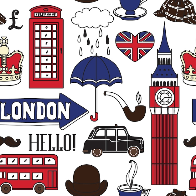 London icons in hand drawn illustration Premium Vector