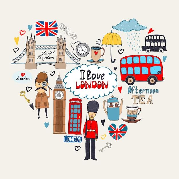 내 마음의 런던 또는 i love london 카드 무료 벡터