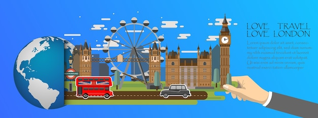 London  infographic, global with landmarks of england ,flat style. Premium Vector