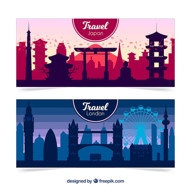 London and japan travel banners Free Vector