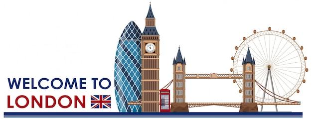 London landmark on white background Premium Vector