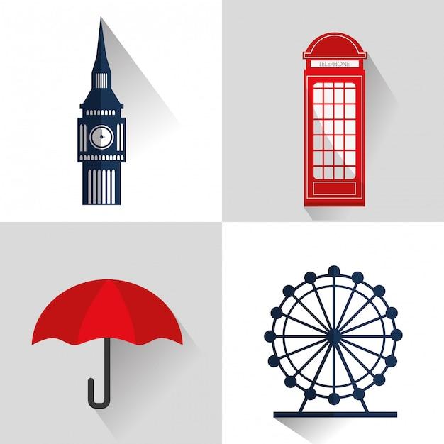 London landmarks design Premium Vector