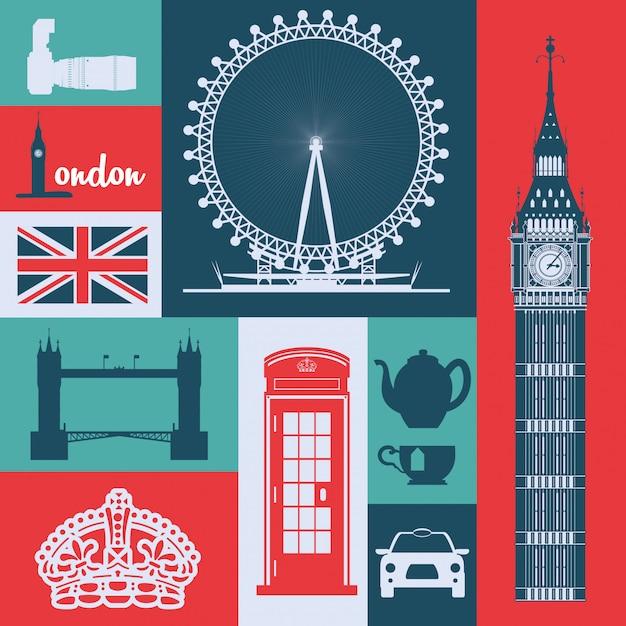 London landmarks design Premium векторы