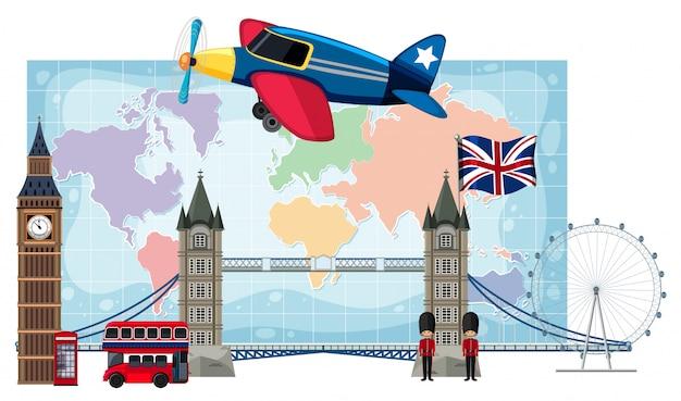London landmarks infront of map Premium Vector