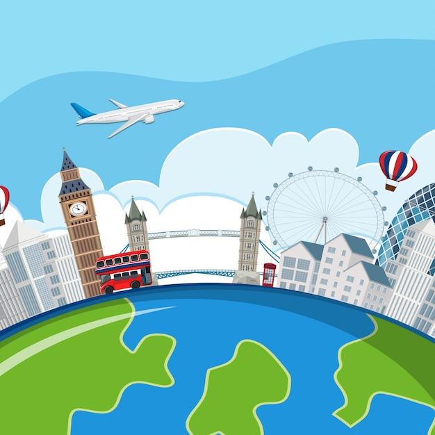 London landmarks planet concept Premium Vector
