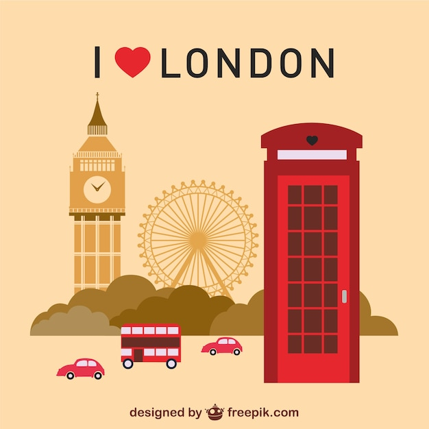 London landmarks set  Free Vector
