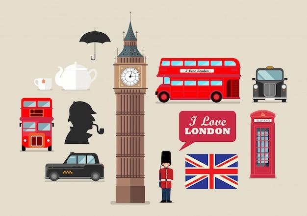 Лондонские национальные символы векторный набор Premium векторы