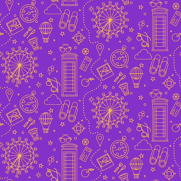 London seamless pattern with london eye, phone box and travel elements Premium Vector