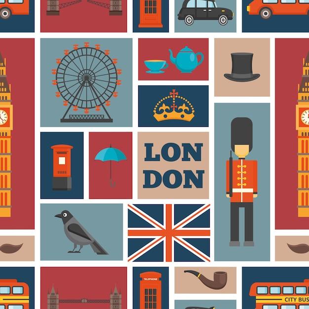 Лондонский бесшовный фон с британской темой и достопримечательностями Бесплатные векторы