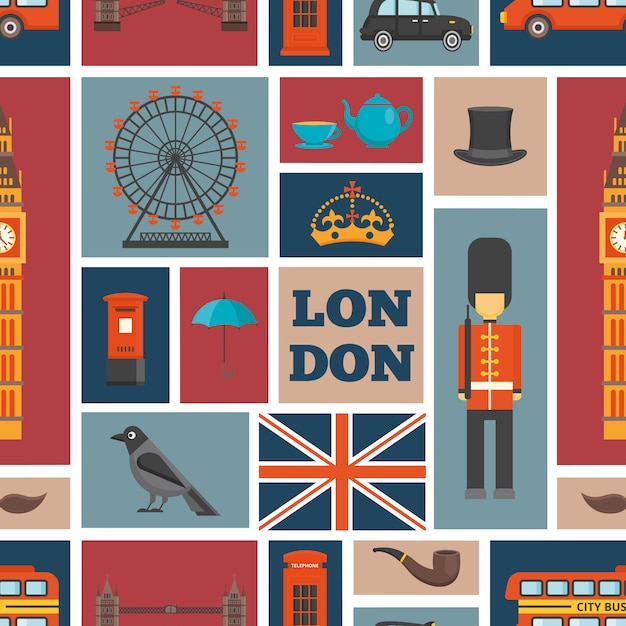London seamless pattern with uk theme and places of interest Free Vector