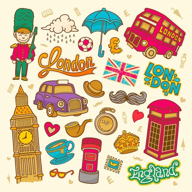 London sketch illustration doodle english elements, london symbols collection Premium Vector