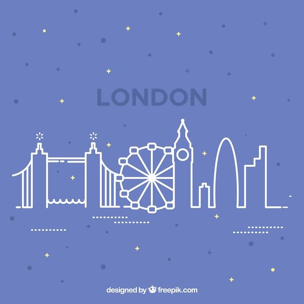London skyline design on outline style Free Vector