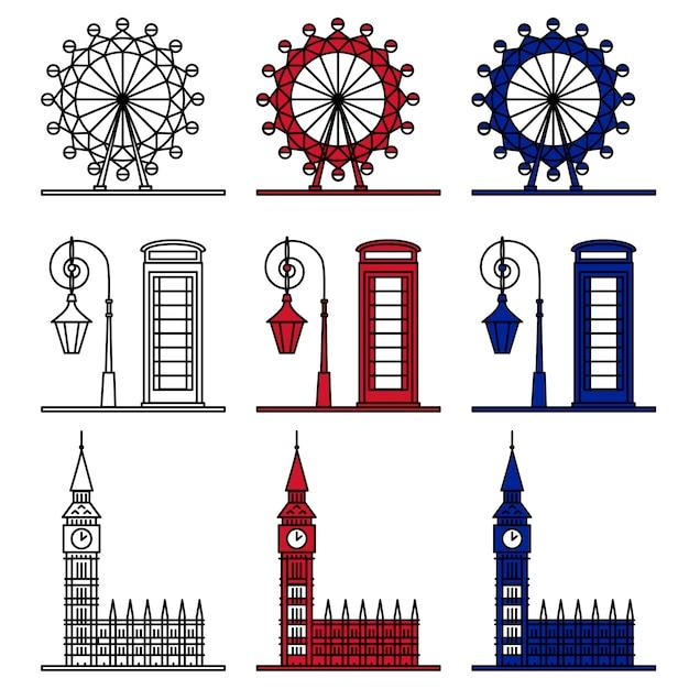 London symbols set Premium Vector