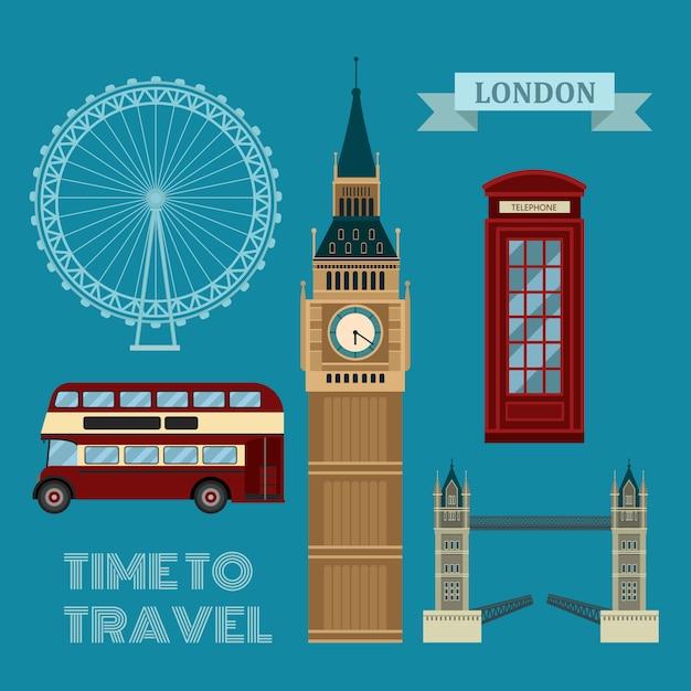 London symbols travel time set Premium Vector