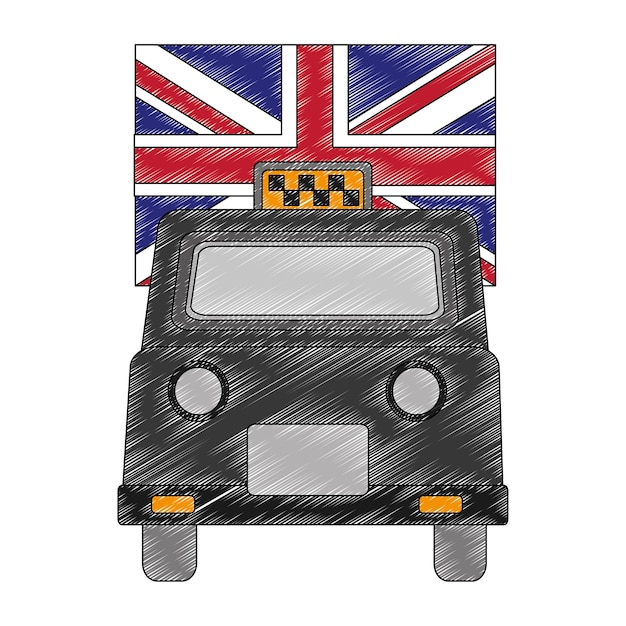 London taxi with flag isolated icon Premium Vector