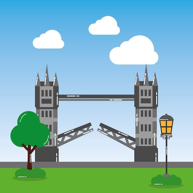 London tower bridge street lamp tree landmark landscape Premium Vector