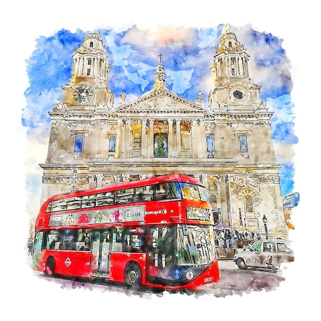 Лондон соединенное королевство акварельный эскиз рисованной иллюстрации Premium векторы