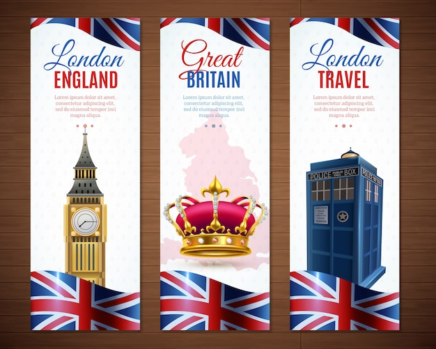London vertical banners collection Free Vector